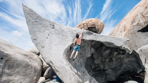 Matt Gentile bouldering on Virgin Gorda.